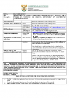 BID DOCUMENT FOR TENDER NUMBER CoGTA (T) 05 OF 2017 (SECURITY SERVICE)